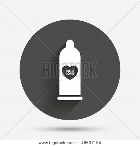 Condom safe sex sign icon. Barrier contraceptive symbol. Circle flat button with shadow. Vector