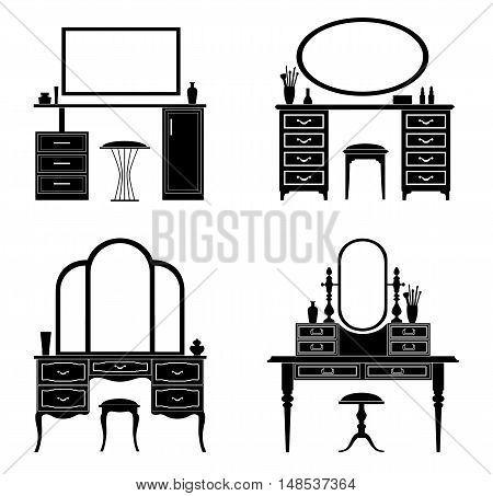 Collection of silhouettes of a dressing table. Template for stencils. A table for cosmetics. Vector illustration.
