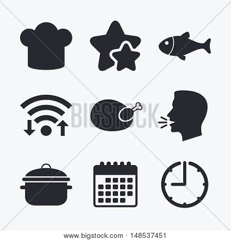 Chief hat and cooking pan icons. Fish and chicken signs. Boil or stew food symbol. Wifi internet, favorite stars, calendar and clock. Talking head. Vector