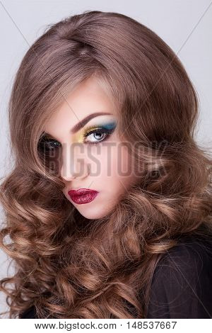 Studio Beauty Portrait Of Gorgeous Girl With Professional Make Up