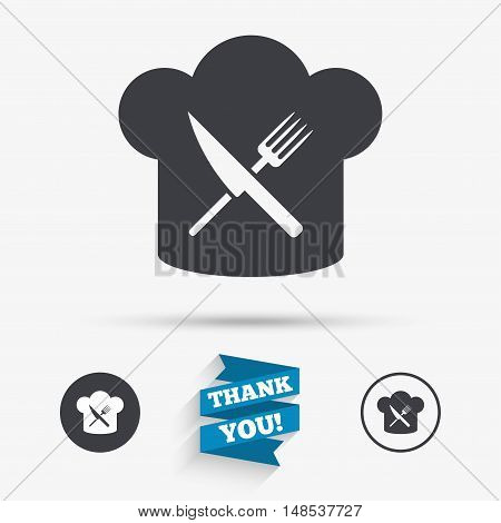 Chef hat sign icon. Cooking symbol. Cooks hat with fork and knife. Flat icons. Buttons with icons. Thank you ribbon. Vector