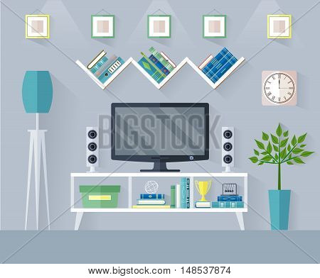 Design TV zone in a flat style. Interior living room with furniture tv set and shelf. Vector illustration.