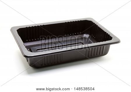 Empty Black Plastic food container on white background