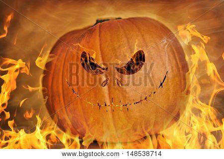 Dark Pumpkin On Orange Background Background, Halloween Theme