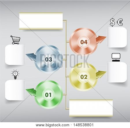 Infographics step by step template with paper notepads, metal discs, icons and arrows. Four metal discs with conical gradient, numbers and arrows, blank notepads and icons
