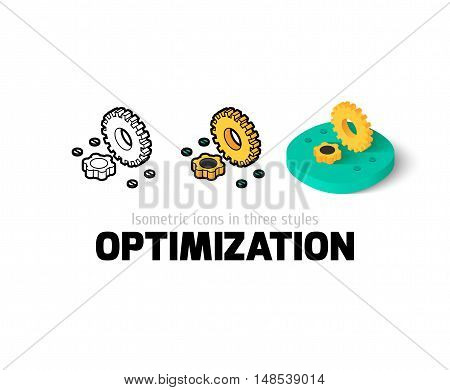 Optimization icon, vector symbol in flat, outline and isometric style