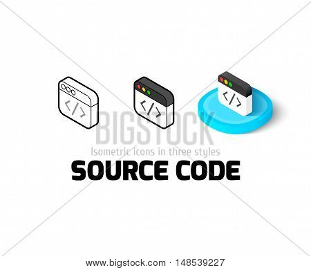 Source code icon, vector symbol in flat, outline and isometric style