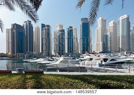 Dubai UAE - september 03 2016: City scenery of Dubai Marina UAE. Dubai Marina is a district in Dubai with artificial canal skyscrapers