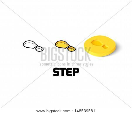 Step icon, vector symbol in flat, outline and isometric style