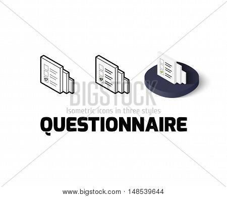 Questionnaire icon, vector symbol in flat, outline and isometric style