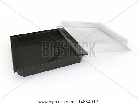 Empty Container With A Transparent Lid For Sushi, Japanese Rolls And Other Products And Goods