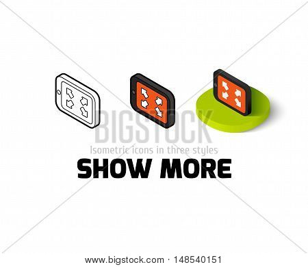 Show more icon, vector symbol in flat, outline and isometric style