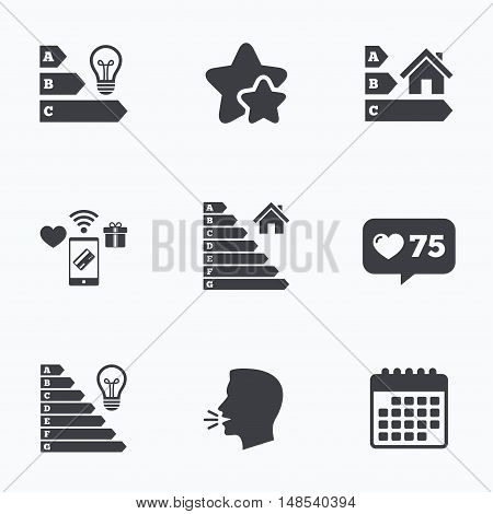 Energy efficiency icons. Lamp bulb and house building sign symbols. Flat talking head, calendar icons. Stars, like counter icons. Vector