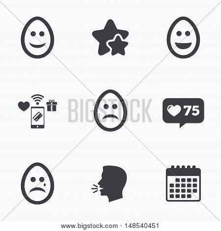 Eggs happy and sad faces icons. Crying smiley with tear symbols. Tradition Easter Pasch signs. Flat talking head, calendar icons. Stars, like counter icons. Vector