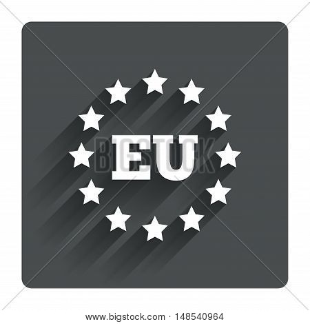 European union icon. EU stars symbol. Gray flat square button with shadow. Modern UI website navigation. Vector