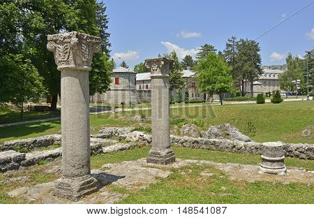 The remains of the Monestary of Crnojevici in the old royal capital of Montenegro Cetinje. The remains date from 1484.