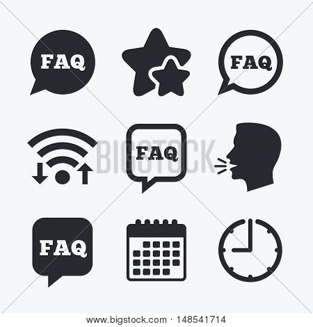 FAQ information icons. Help speech bubbles symbols. Circle and square talk signs. Wifi internet, favorite stars, calendar and clock. Talking head. Vector
