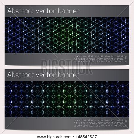 Vector horizontal banners set with glowing geometric shapes. Effect neon glow. Template with sample text.