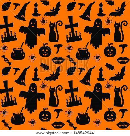 Halloween symbols silhouettes orange background seamlless vector pattern spooky trick or treat