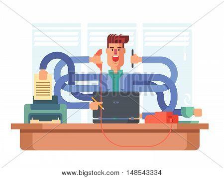 Man office worker multitasking. Businessman busy, job stress, vector illustration