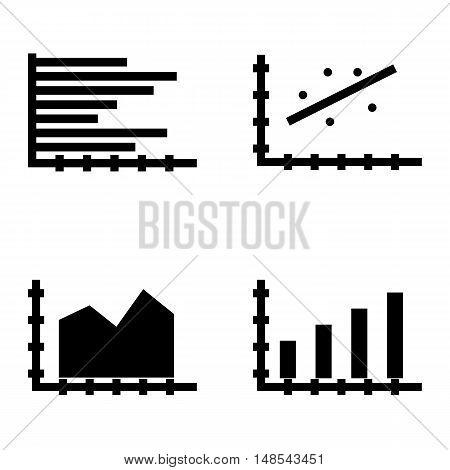 Set Of Statistics Icons On Horizontal Bar Chart, Area Chart, Bar Chart And More. Premium Quality Eps