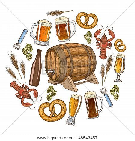 Set of colorful beer icons in circle shape background. Template for packaging cards posters and drinks menu. Vector stock illustration.