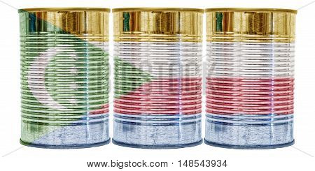 Three tin cans with the flag of Comoros on them isolated on a white background.