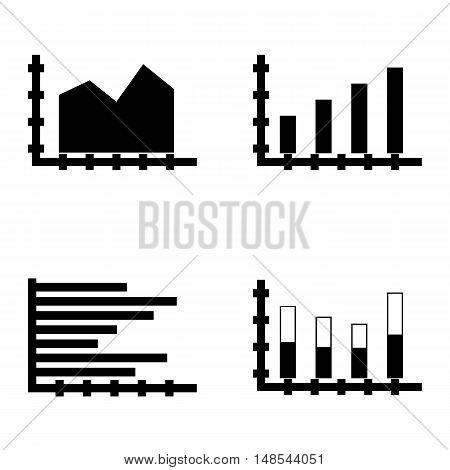 Set Of Statistics Icons On Stacked Bar, Horizontal Bar Chart, Bar Chart And More. Premium Quality Ep