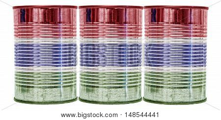 Three tin cans with the flag of Gambia on them isolated on a white background.