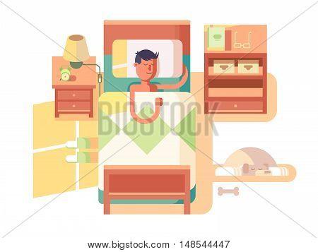 Man sleep in bed. Dream night, bedroom interior, vector illustration