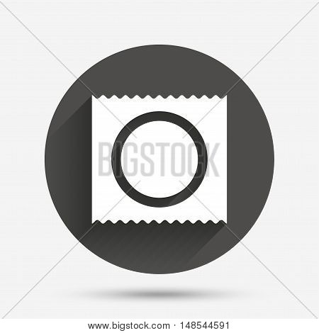 Condom in package safe sex sign icon. Safe love symbol. Circle flat button with shadow. Vector