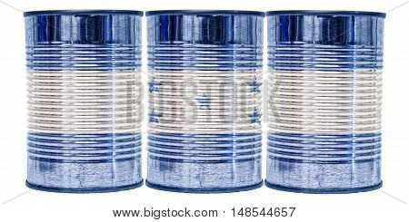 Three tin cans with the flag of Honduras on them isolated on a white background.