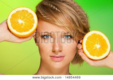 Juicy Oranges And Beautiful Woman