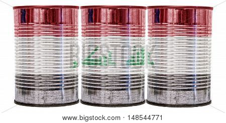 Three tin cans with the flag of Iraq on them isolated on a white background.