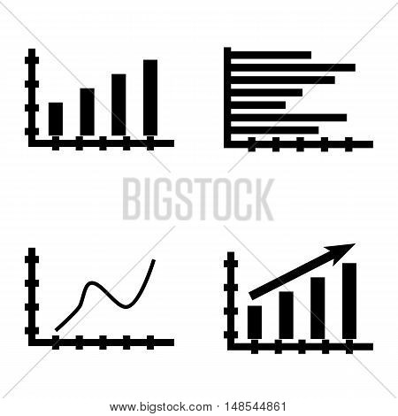 Set Of Statistics Icons On Horizontal Bar Chart, Curved Line, Statistics Growth And More. Premium Qu