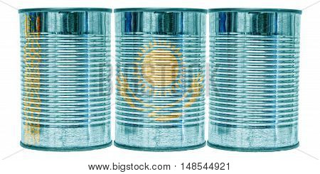 Three tin cans with the flag of Kazakhstan on them isolated on a white background.