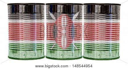 Three tin cans with the flag of Kenya on them isolated on a white background.