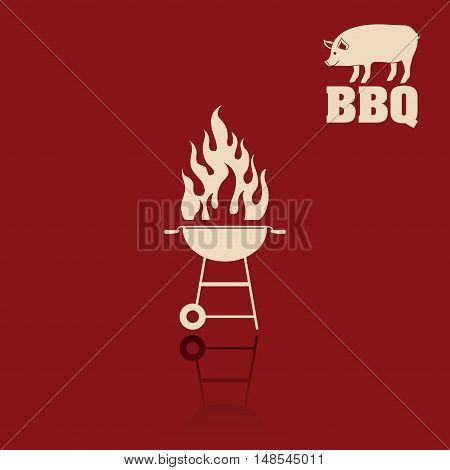 pork pig flame bbq and grill menu icon. Steak house food and restaurant theme. Vector illustration