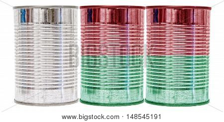 Three tin cans with the flag of Madagascar on them isolated on a white background.