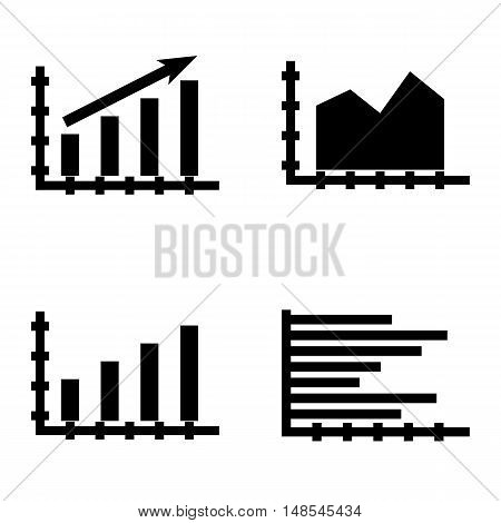 Set Of Statistics Icons On Bar Chart, Area Chart, Statistics Growth And More. Premium Quality Eps10