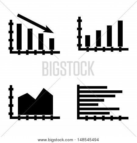 Set Of Statistics Icons On Bar Chart, Statistics Down, Area Chart And More. Premium Quality Eps10 Ve