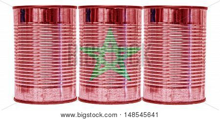 Three tin cans with the flag of Morocco on them isolated on a white background.