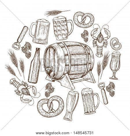 Set of sketch vintage beer icons in circle shape background. Template for packaging cards posters and drinks menu. Vector stock illustration.