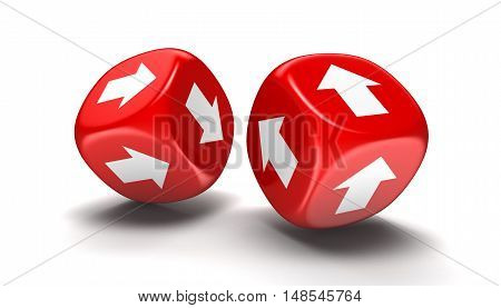 3D Illustration. Dices with arrows. Image with clipping path