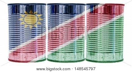 Three tin cans with the flag of Namibia on them isolated on a white background.