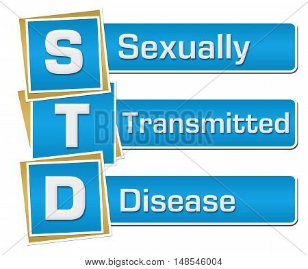 STD - Sexually Transmitted Disease text alphabets written over blue background.