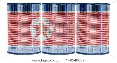 Three tin cans with the flag of North Korea on them isolated on a white background.