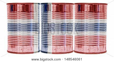 Three tin cans with the flag of Norway on them isolated on a white background.