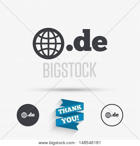 Domain DE sign icon. Top-level internet domain symbol with globe. Flat icons. Buttons with icons. Thank you ribbon. Vector
