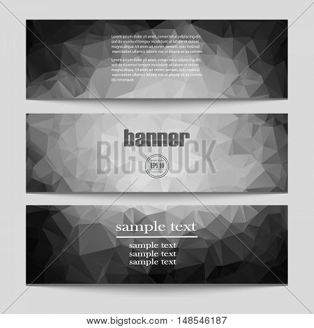 Collection of geometric black and white banner. Can be used in website, magazine or advertising.